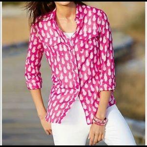 Talbots Hot Pink Cotton Blouse Pineapple Print M